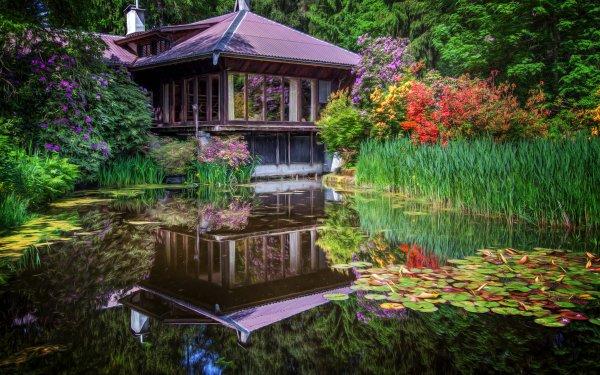Man Made Japanese Garden Garden Reflection Pond Water Flower HD Wallpaper | Background Image