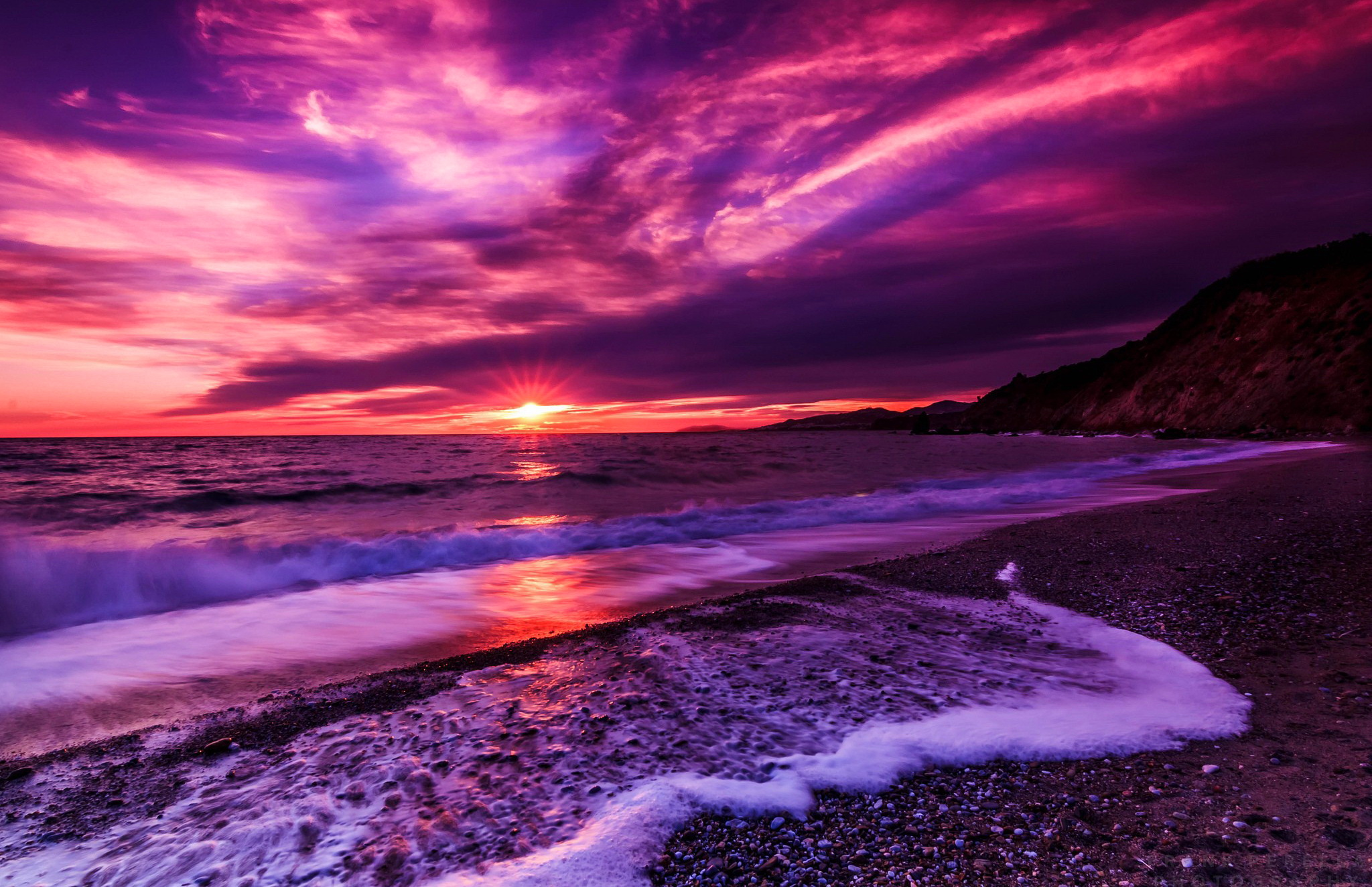 Purple Beach Sunset Hd Wallpaper Background Image