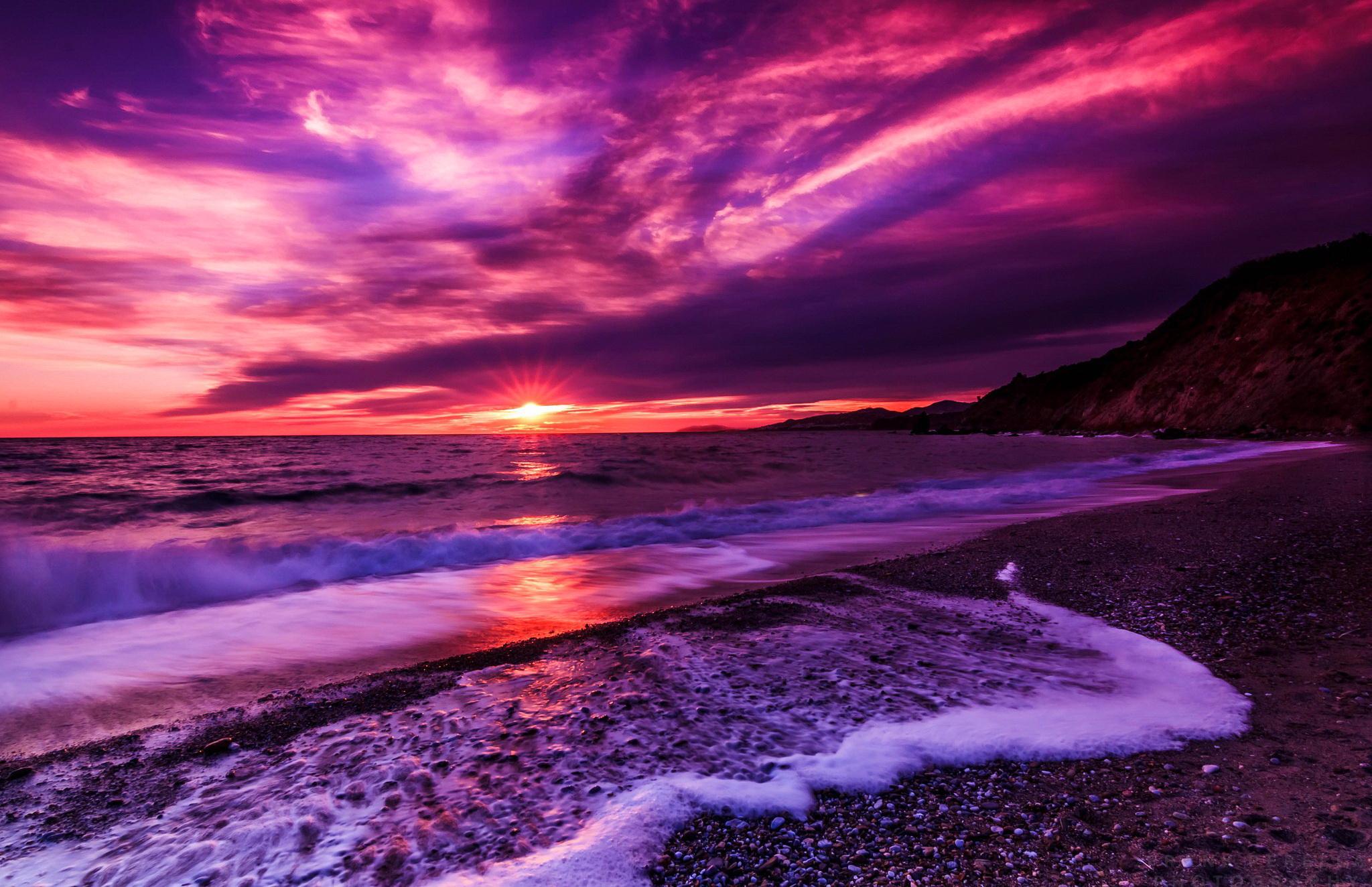 фиолетовый цвет заката