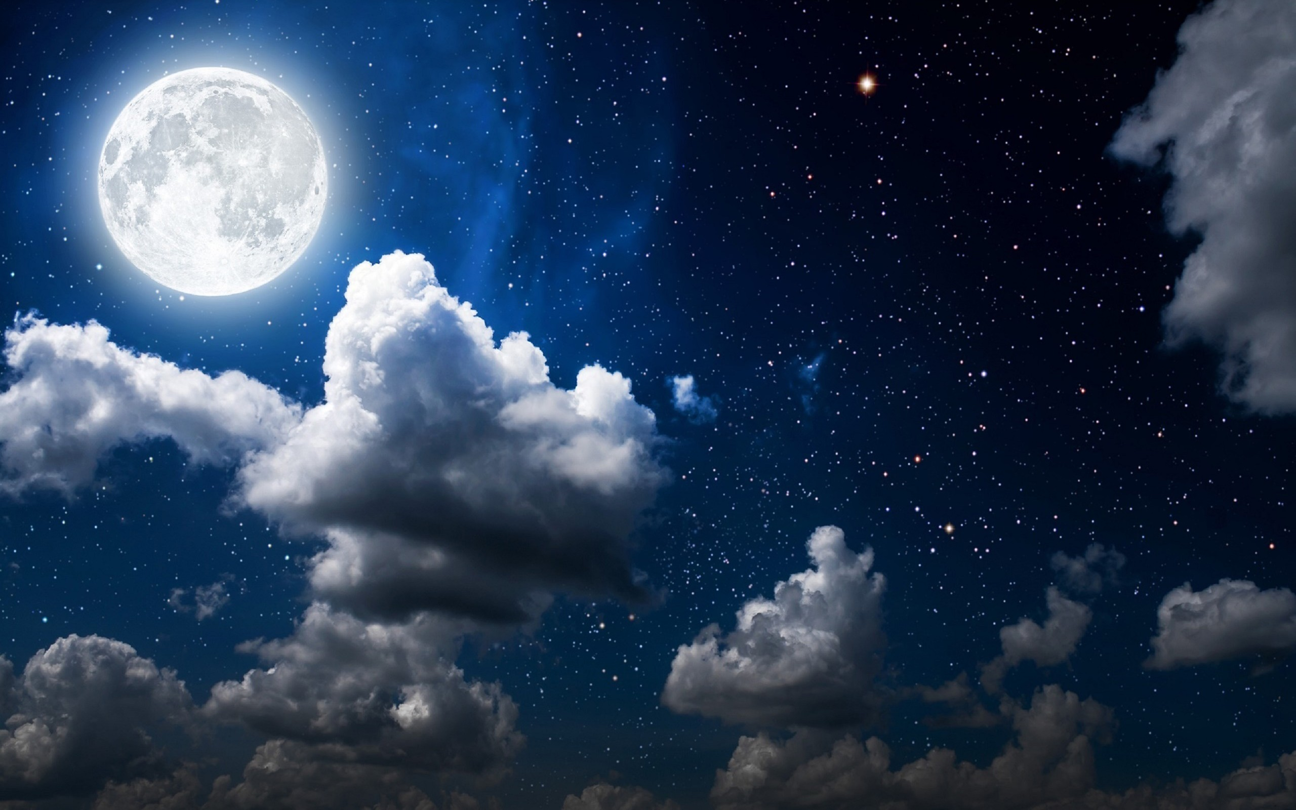 Full Moon On Starry Night HD Wallpaper