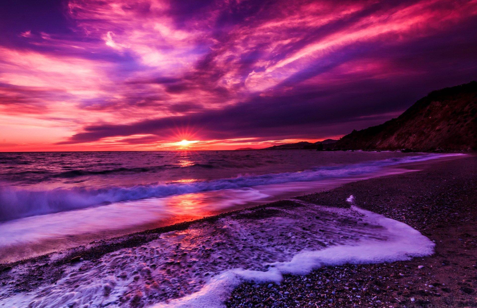 Purple beach sunset hd wallpaper background image for Sfondi desktop tramonti mare