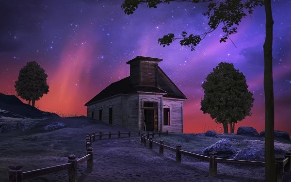 Artistic House Fence Tree Night Starry Sky Stars HD Wallpaper | Background Image