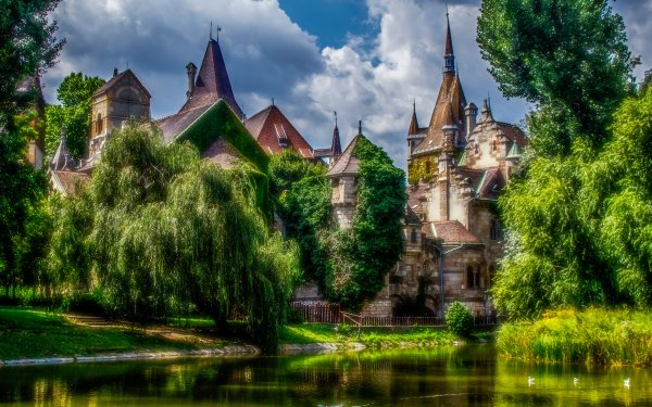 Man Made Castle Castles Budapest Hungary HDR Pond HD Wallpaper | Background Image
