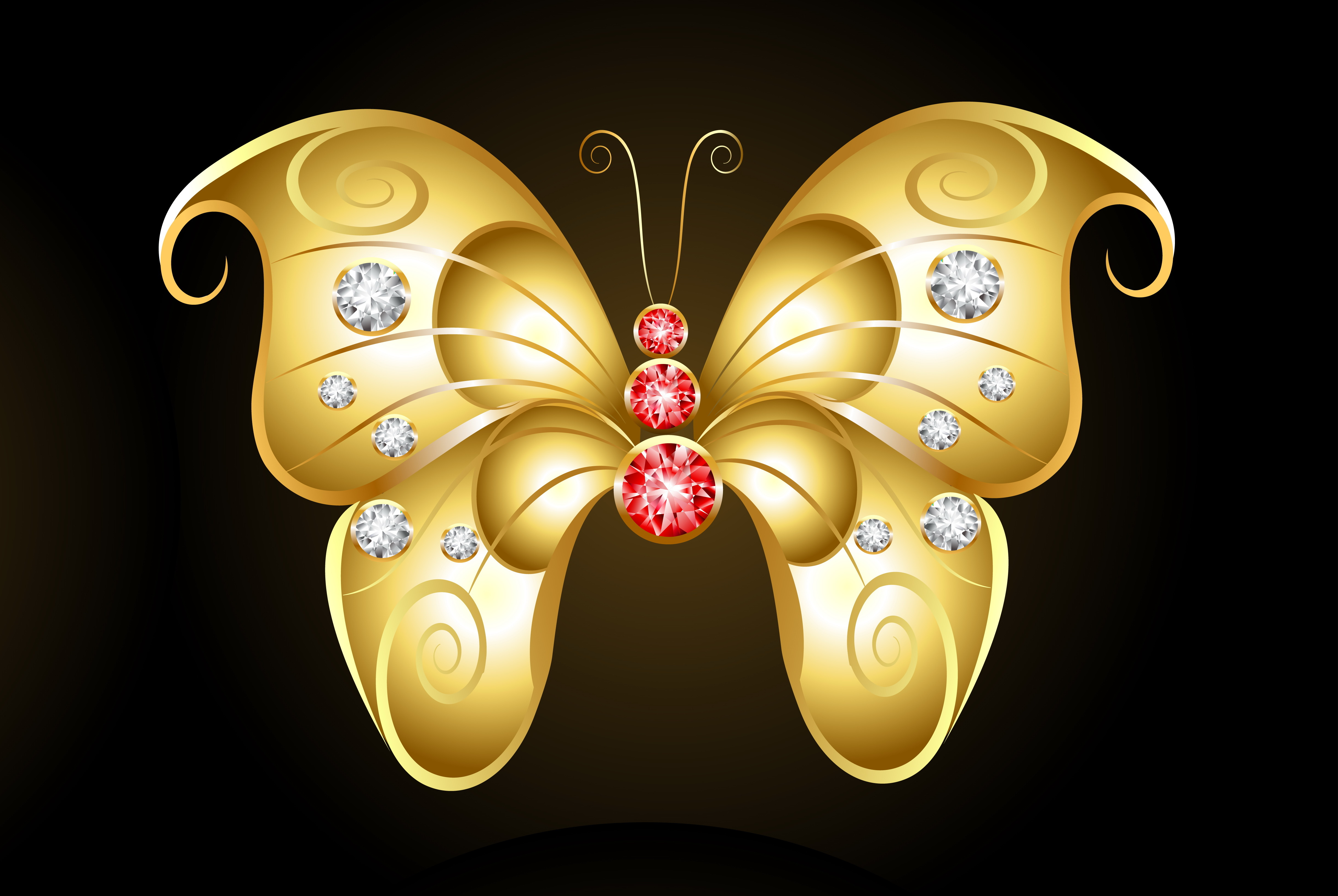 Gold Butterfly with Red and White 4k Ultra HD Wallpaper ...