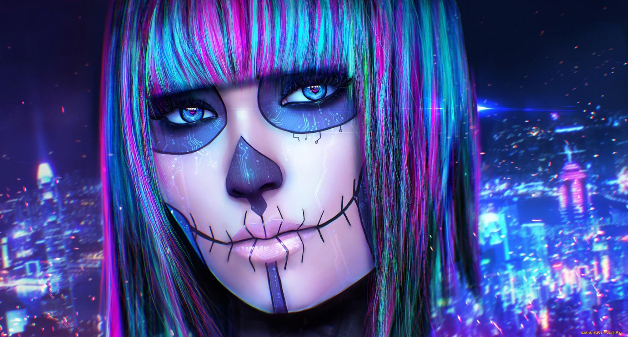 Dia De Los Muertos And Rainbow Hair Full HD Wallpaper Background