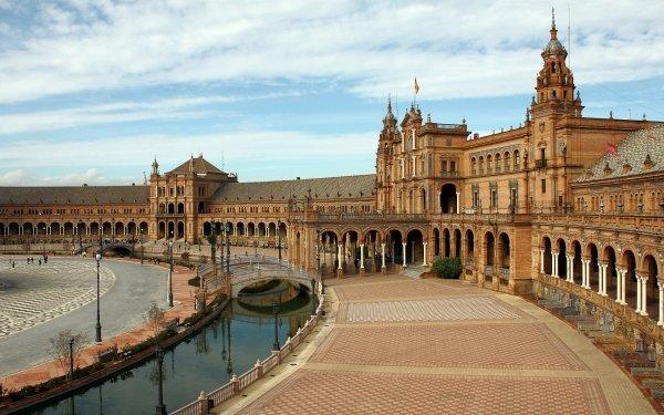 Man Made Plaza de España Monuments Spain Building Architecture Seville HD Wallpaper | Background Image