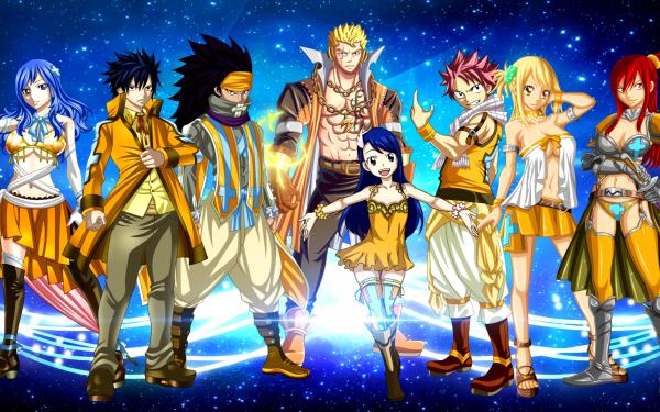 Anime Fairy Tail Lucy Heartfilia Natsu Dragneel Erza Scarlet Laxus Dreyar Gray Fullbuster Juvia Lockser Wendy Marvell Gajeel Redfox Fond d'écran HD | Image