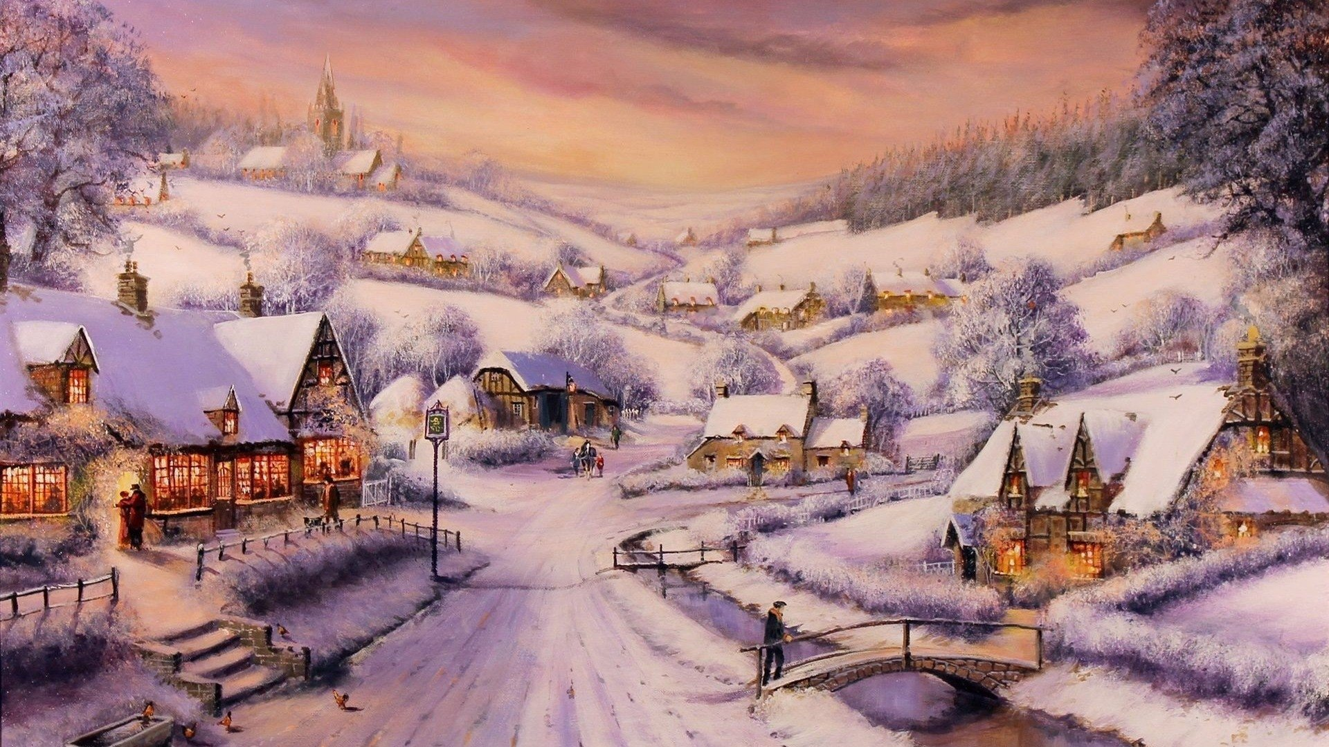Snowy winter village hd wallpaper background image - Art village wallpaper ...