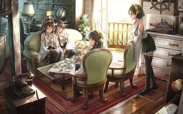 Anime Kantai Collection Kongou Haruna Kirishima Hiei HD Wallpaper | Background Image