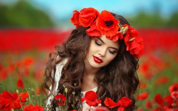 Women Face Model Flower Poppy Red Flower Brunette Lipstick HD Wallpaper | Background Image