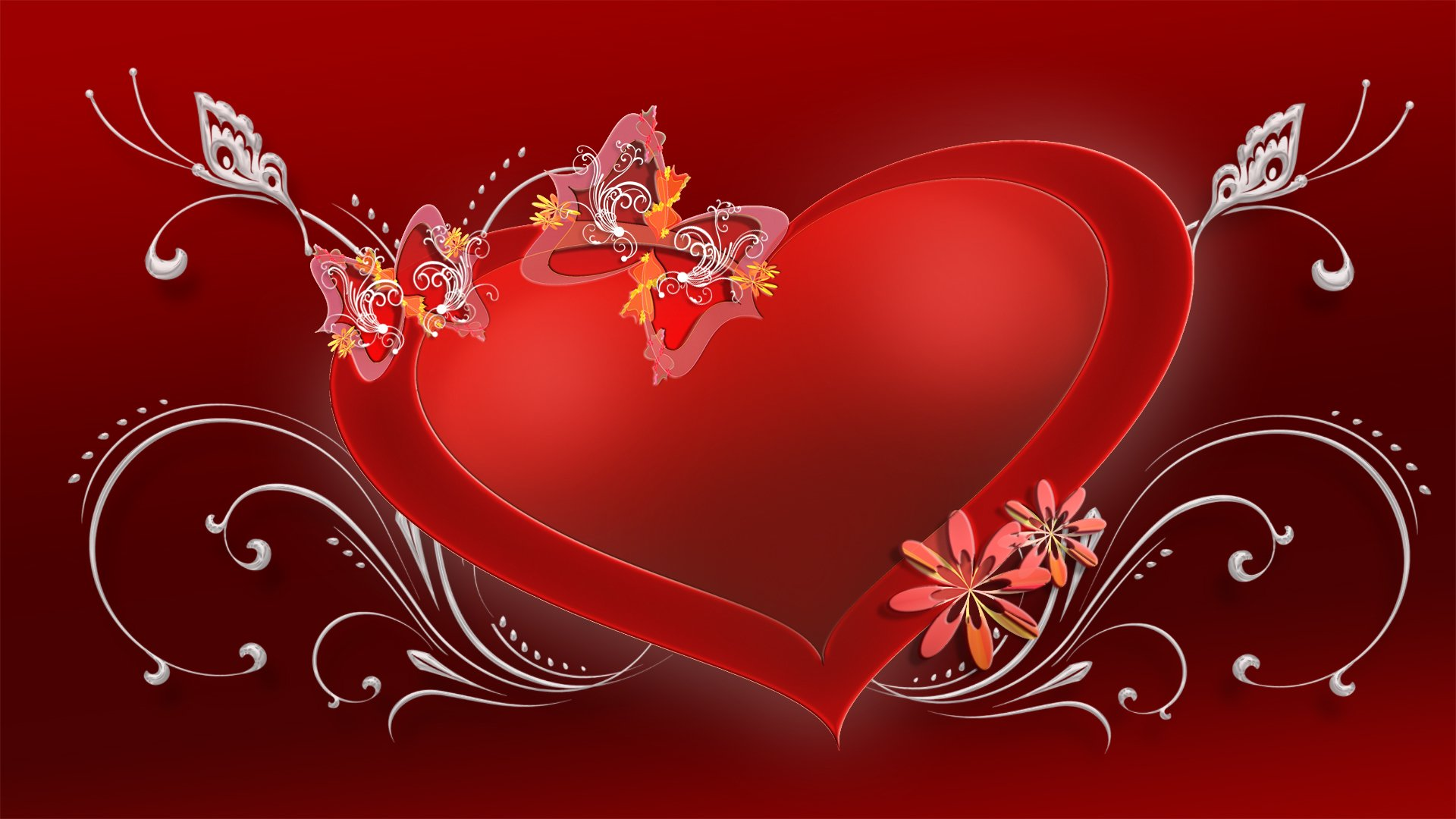 Holiday - Valentine's Day  Holiday Heart Red Butterfly Flower Wallpaper
