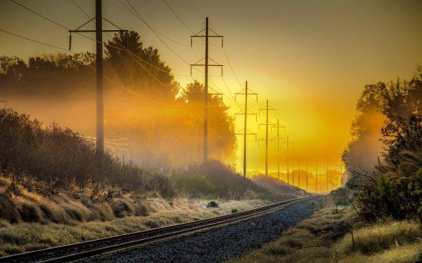 Man Made Railroad Sunrise Fog Power Line HD Wallpaper | Background Image