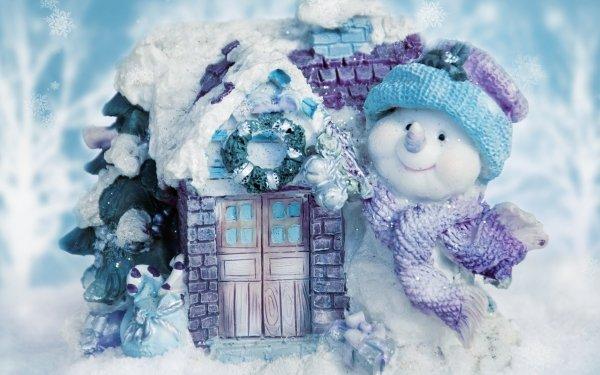 Día festivo Navidad Muñeco de nieve Casa Invierno Azul Copo de nieve Fondo de pantalla HD | Fondo de Escritorio