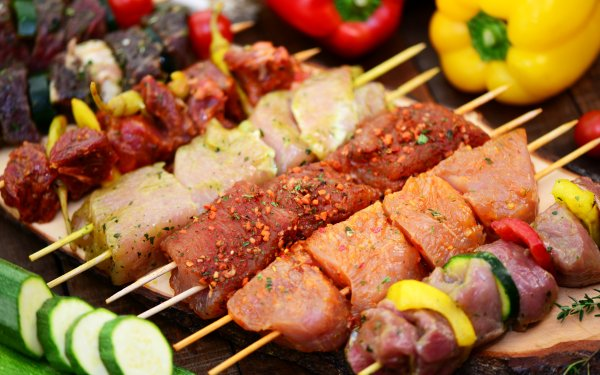Food Barbecue Meat Pepper Cucumber HD Wallpaper | Background Image