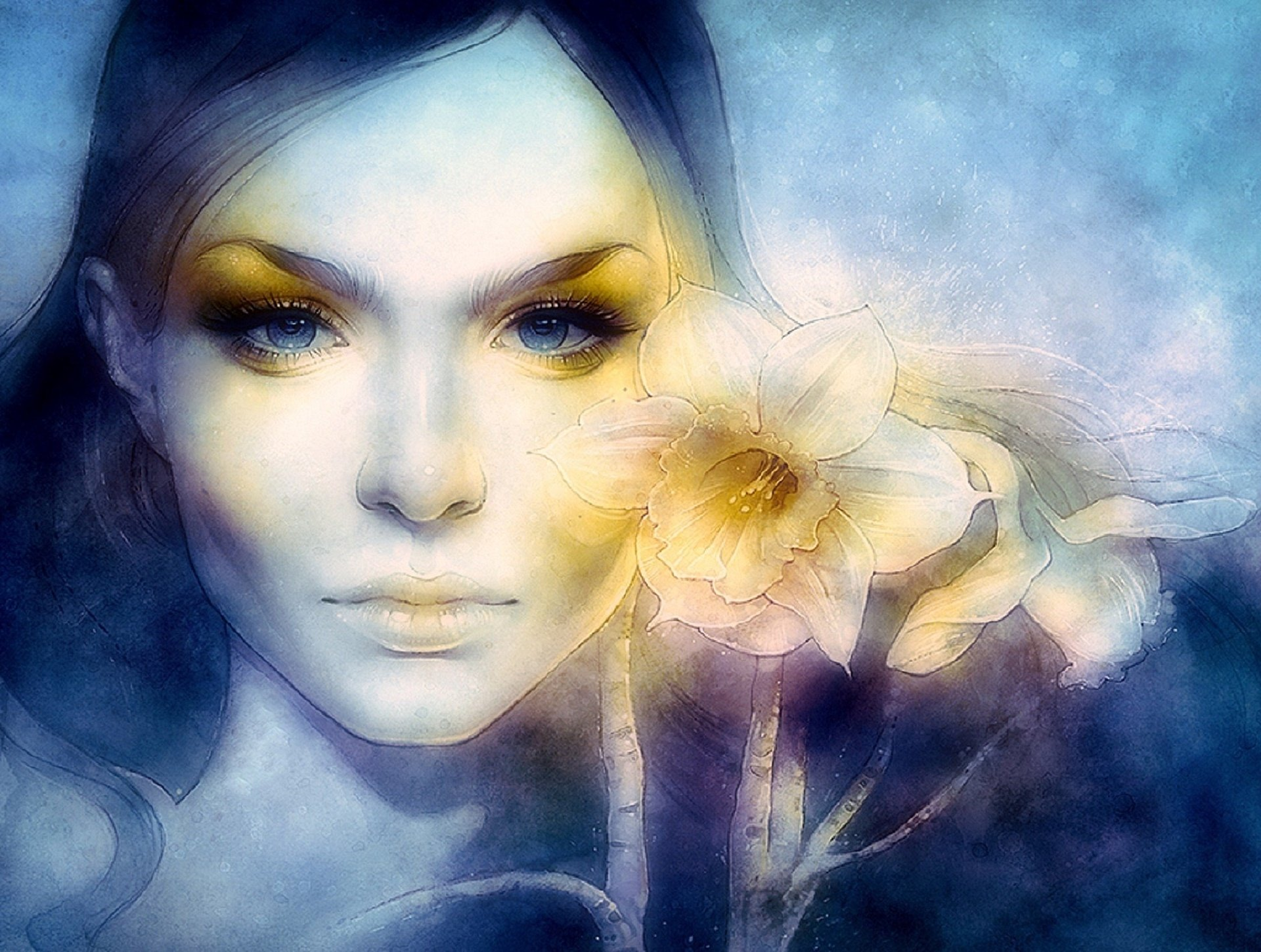 Artistic - Drawing  Blue Eyes Artistic Woman Girl Flower Wallpaper