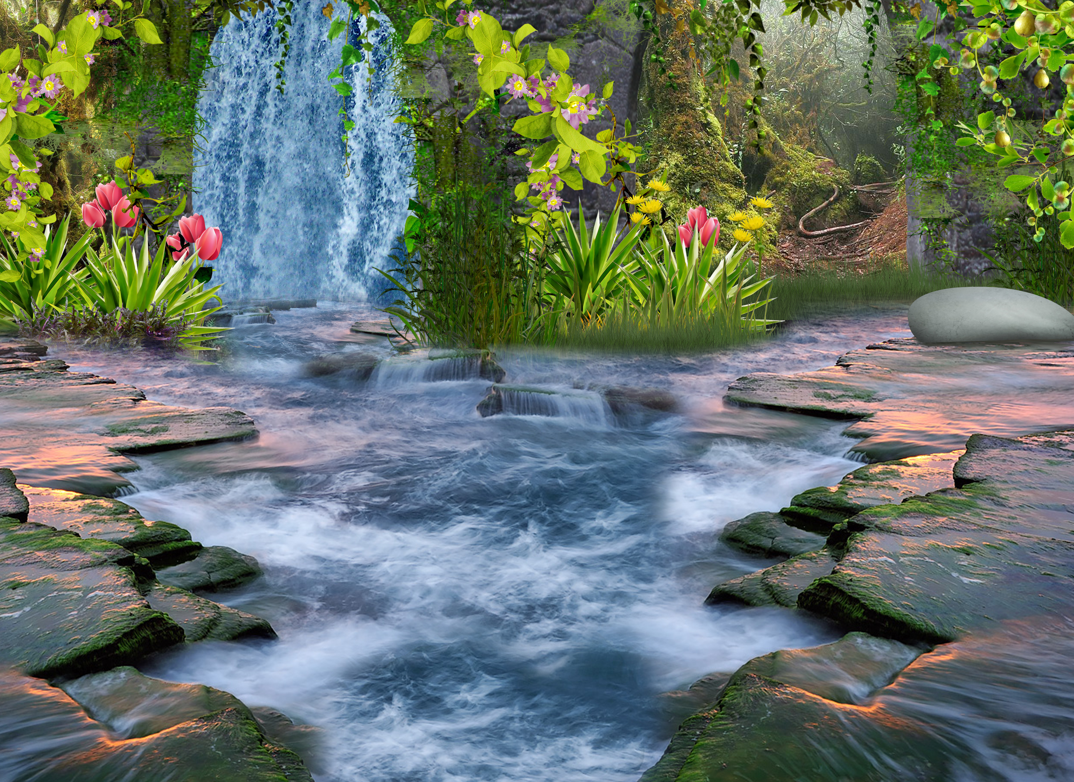 Fantasy forest stream hd wallpaper background image for Immagini natura gratis