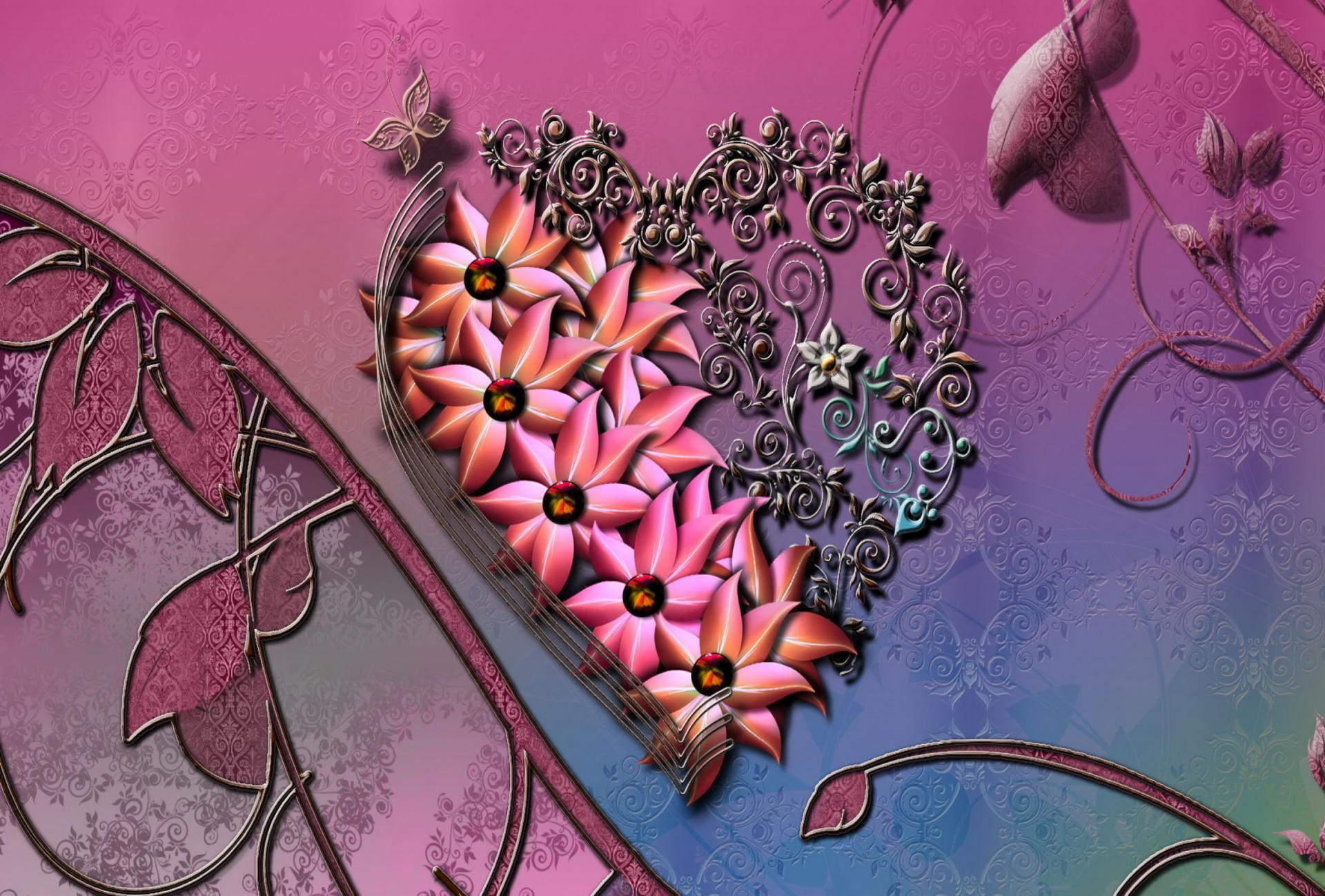 Artistic - Heart  Artistic Flower Pink Wallpaper