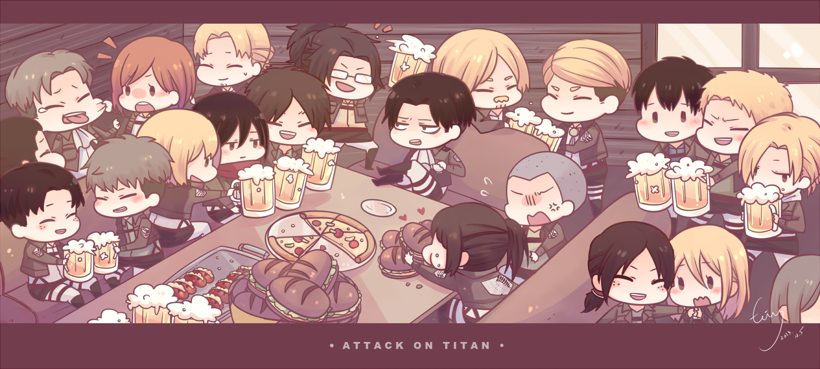 Attack On Titan Squad Party Hd Wallpaper Background Image