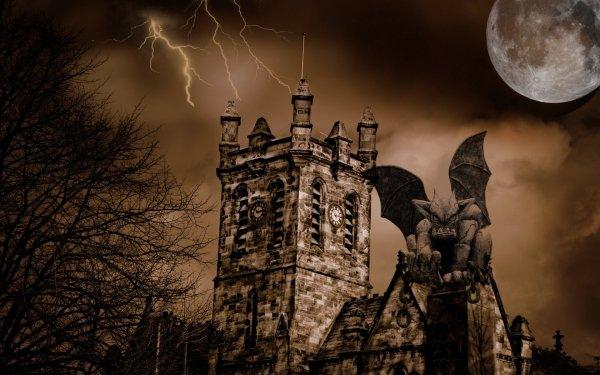 Oscuro Castle Castillos Gargoyle Halloween Fondo de pantalla HD | Fondo de Escritorio