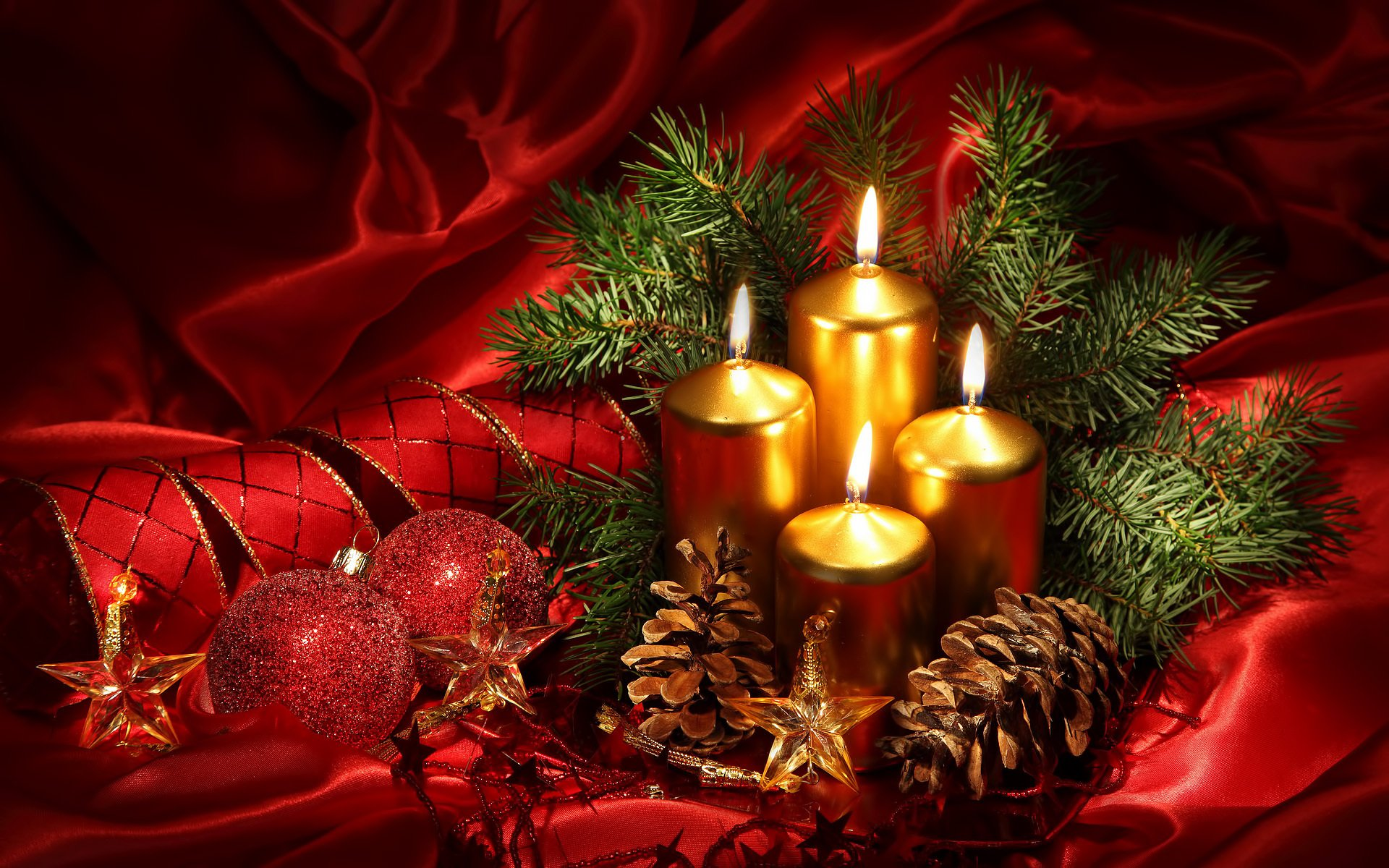 Holiday - Christmas  Holiday Candle Pine Cone Christmas Ornaments Ribbon Red Wallpaper