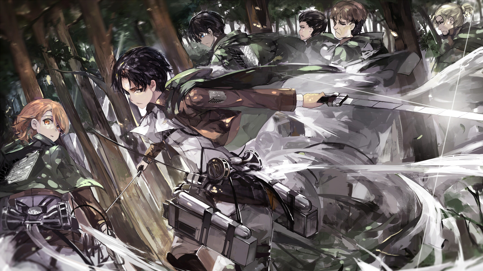 Anime - Attack On Titan  Levi Ackerman Eren Yeager Petra Ral Gunther Schultz Erd Gin Auruo Bossard Shingeki No Kyojin Wallpaper