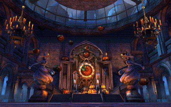 Holiday Halloween Altar Jack-O'-Lantern Witch Chandelier HD Wallpaper   Background Image