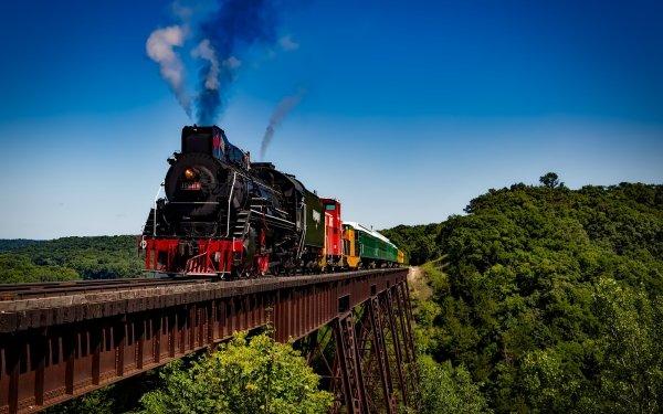 Vehicles Train Forest Railroad Bridge Locomotive HD Wallpaper | Background Image