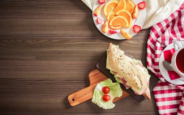 Food Still Life Tea Fruit Sandwich HD Wallpaper | Background Image