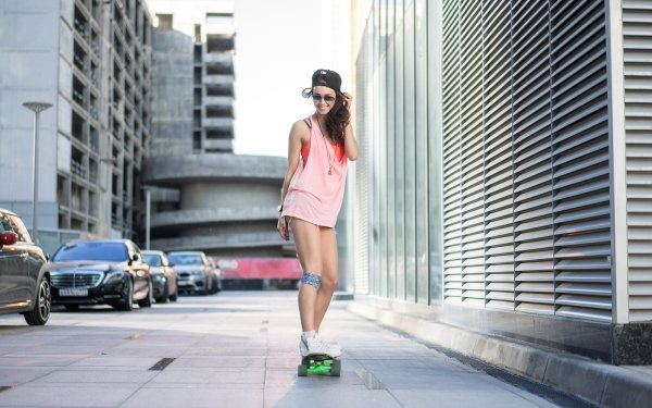 Women Mood Cap Smile Skateboarding Brunette HD Wallpaper   Background Image