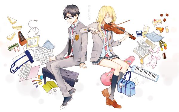 Anime Your Lie in April Kousei Arima Kaori Miyazono HD Wallpaper   Background Image
