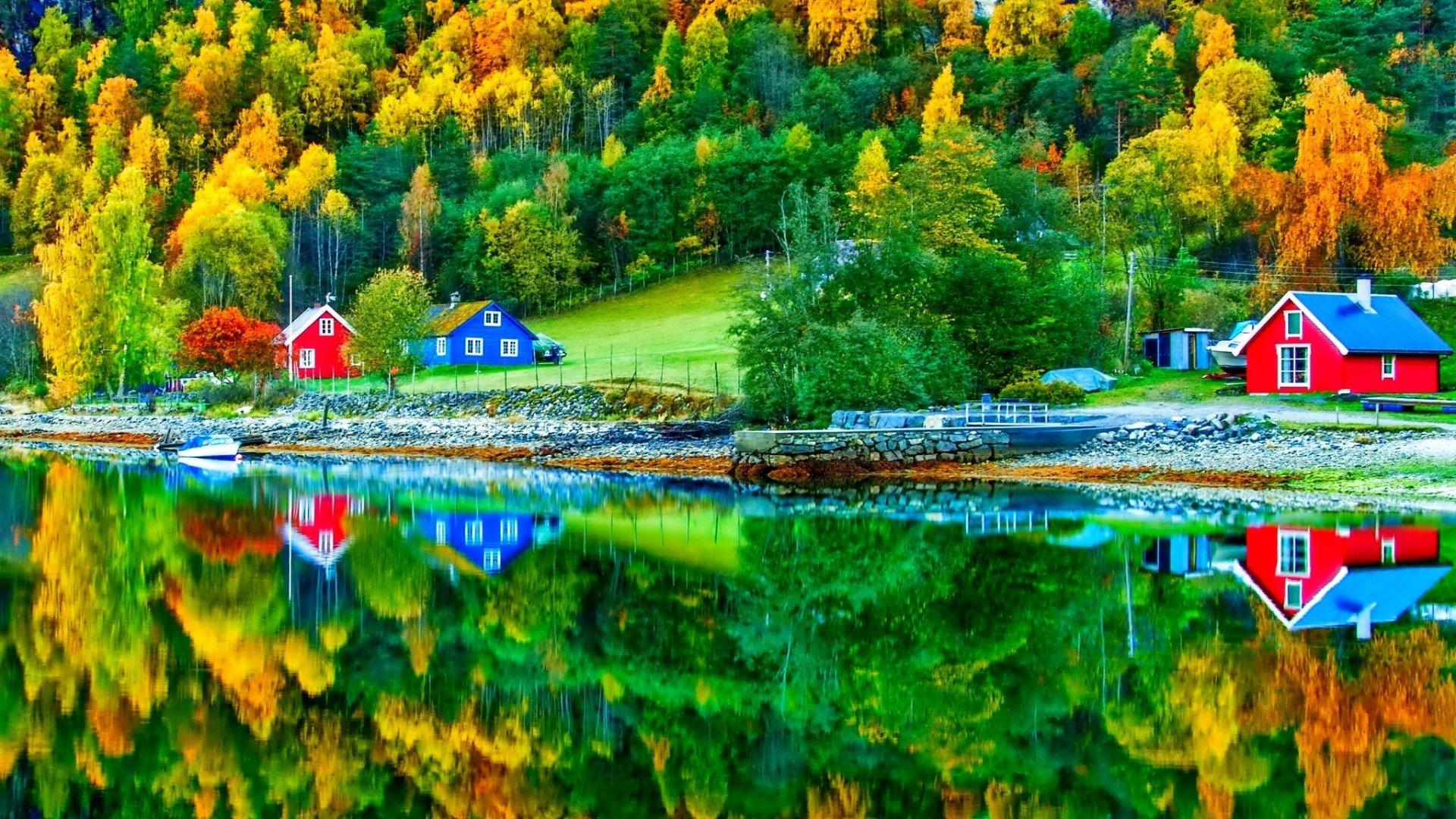 Autumn Lake Reflection HD Wallpaper   Background Image   20x20