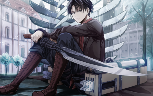 Anime Attack On Titan Levi Ackerman Shingeki No Kyojin Black Hair Blue Eyes Schwert Sitting HD Wallpaper | Hintergrund