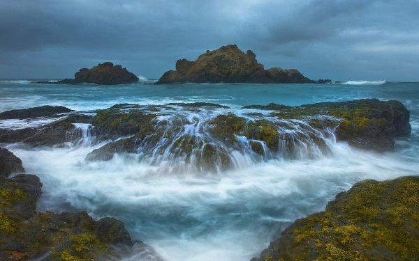 Earth Ocean Island Shore Coastline Sea Rock Sky Cloud HD Wallpaper | Background Image