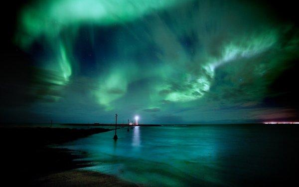 Earth Aurora Borealis Sky Horizon Light Night Nature Lighthouse Sea Water HD Wallpaper | Background Image