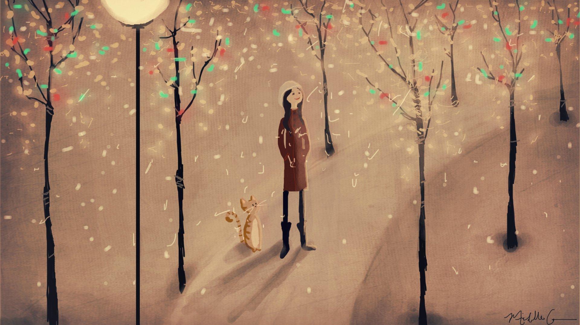 Artistic - Girl  Artistic Tree Winter Snow Cat Wallpaper