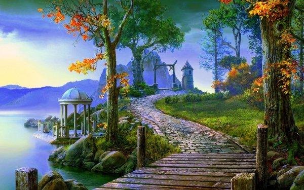 Fantasy Landscape Town Gazebo Path Cobblestone Fall Foliage HD Wallpaper | Background Image