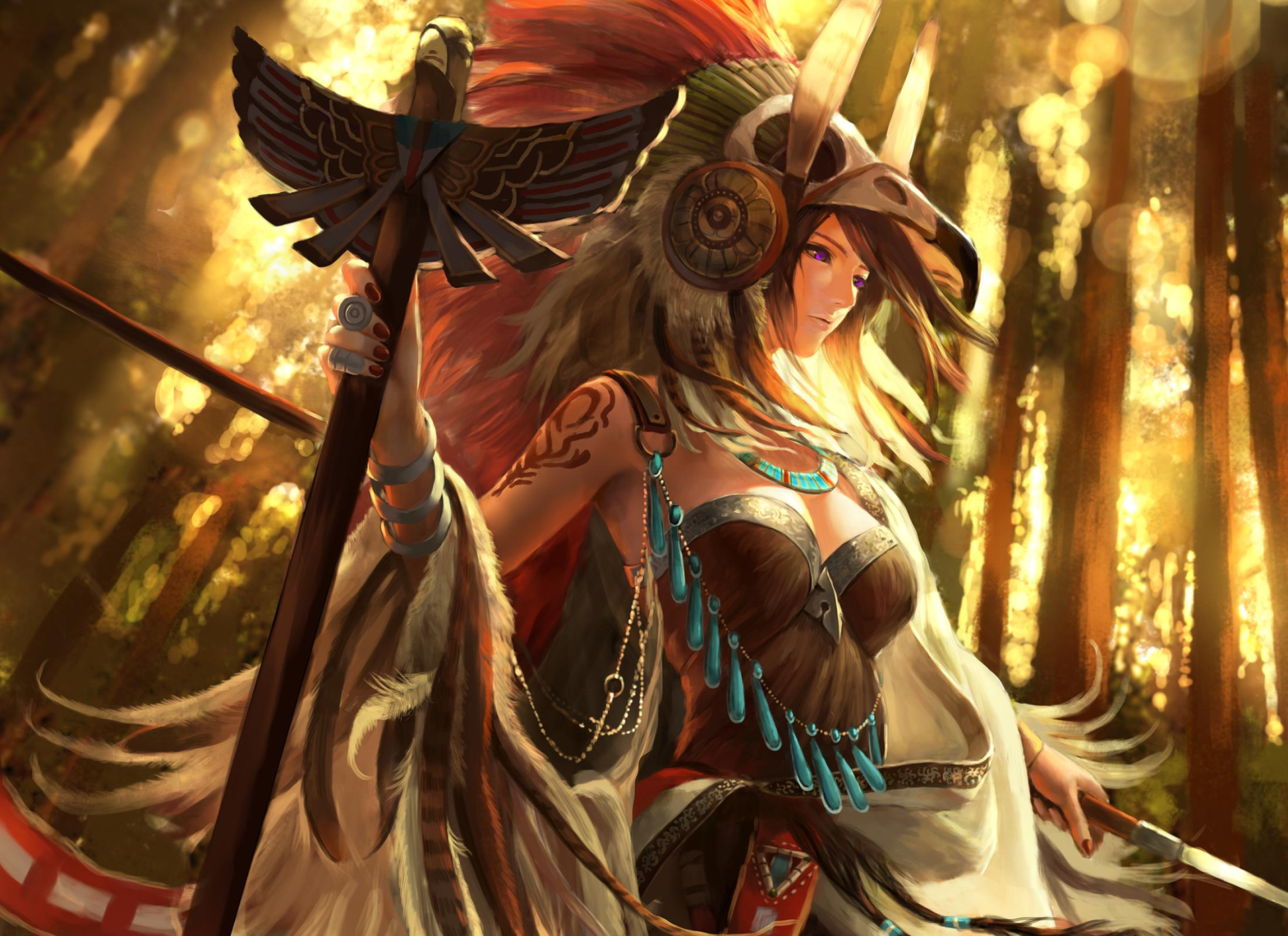 Fantasy - Women Warrior  Headdress Tattoo Staff Woman Wallpaper