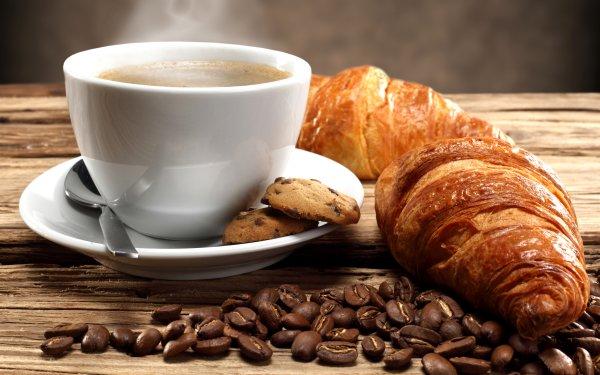 Alimento Desayuno Croissant Café Coffee Beans Cup Galleta Fondo de pantalla HD | Fondo de Escritorio