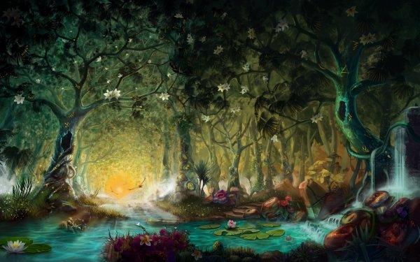 Fantasy Forest Pond Tree Flower Lotus River HD Wallpaper | Background Image