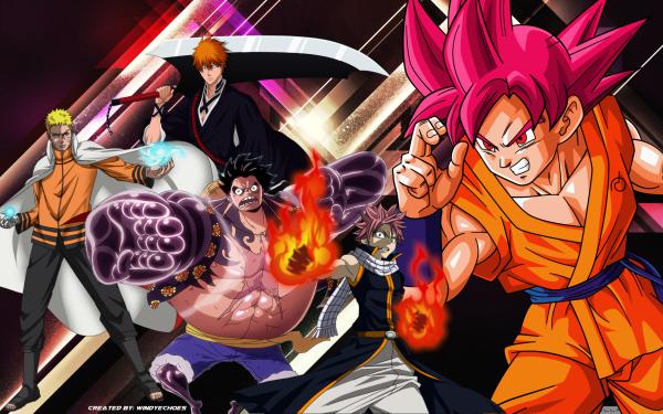 Anime Crossover Natsu Dragneel Naruto Uzumaki Monkey D. Luffy Ichigo Kurosaki Goku Fairy Tail Naruto One Piece Bleach Dragon Ball Dragon Ball Super HD Wallpaper | Background Image