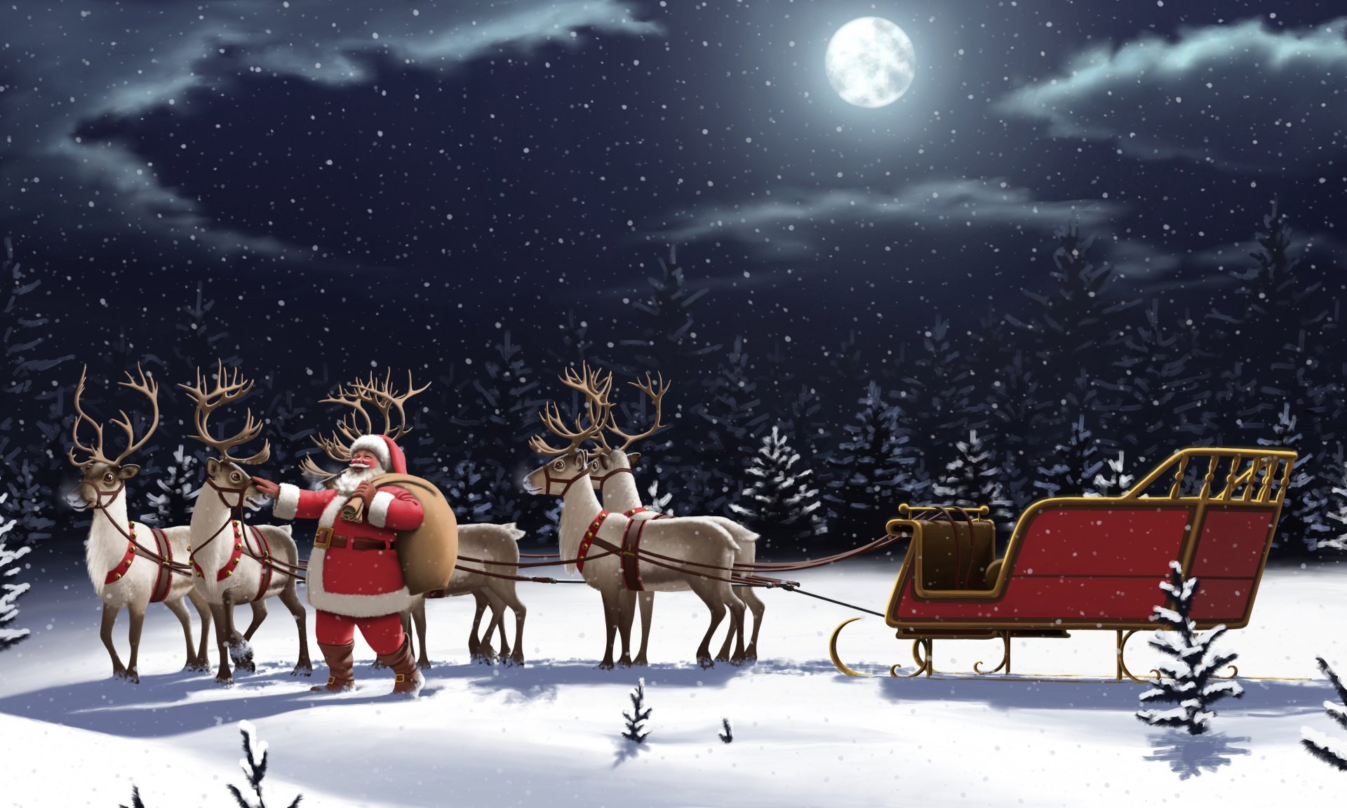 Holiday - Christmas  Night Sleigh Reindeer Santa Snowfall Moon Wallpaper