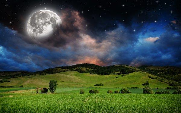 Earth Moon Field Meadow Sky Starry Sky Stars HD Wallpaper | Background Image