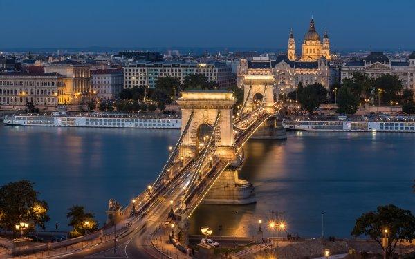 Man Made Chain Bridge Bridges Budapest Night Hungary Danube River Bridge HD Wallpaper | Background Image