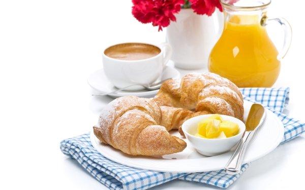 Alimento Desayuno Café Jugo Croissant Fondo de pantalla HD | Fondo de Escritorio