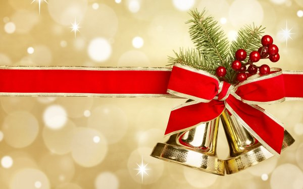 Holiday Christmas Bell Ribbon Berry Golden HD Wallpaper | Background Image
