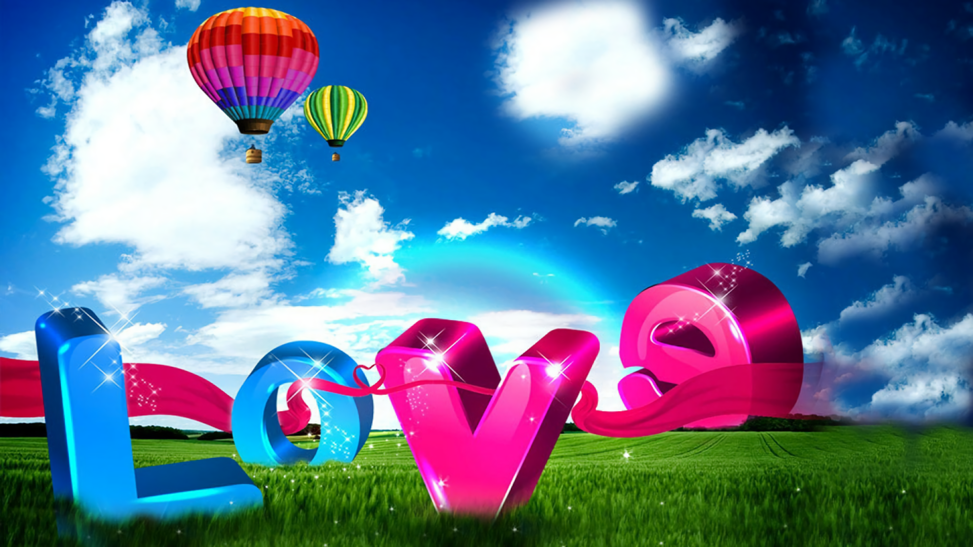 Artistic - Love  Artistic Colorful Meadow Hot Air Balloon Wallpaper