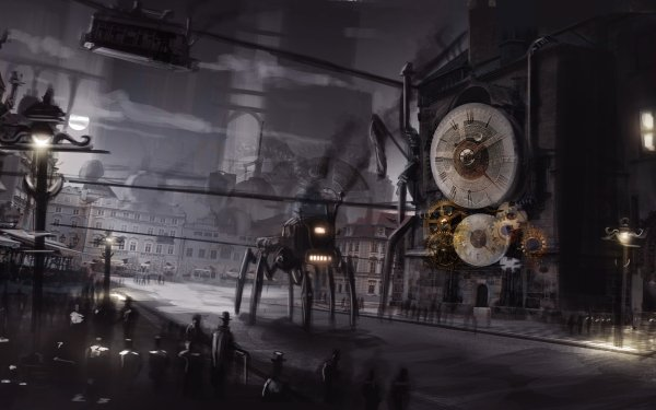 Sci Fi Steampunk City Night Robot Clock HD Wallpaper   Background Image