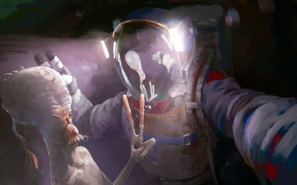 Sciencefiction Ruimtevaarder Selfie Alien HD Wallpaper | Achtergrond