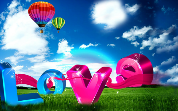 Artistic Love Colorful Meadow Hot Air Balloon HD Wallpaper | Background Image