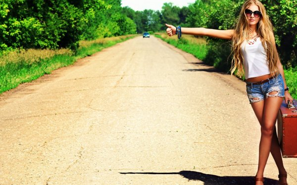 Women Blonde Woman Hitchhiking HD Wallpaper   Background Image